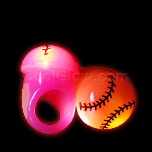 Fun Central I547 LED Light Up Jelly Baseball Rings - Assorted
