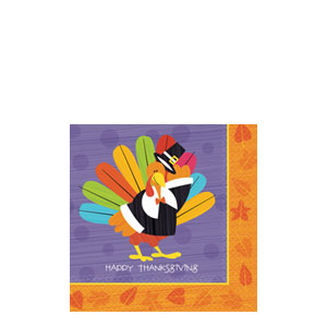 Fun Turkey Beverage Napkins- 16ct