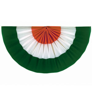 Fabric Bunting Green-White-Orange