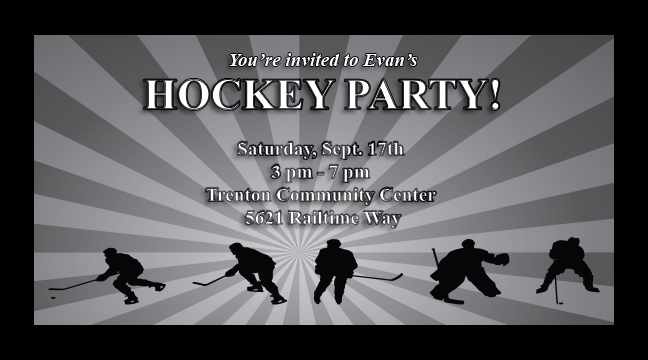 Hockey Party - Custom Invitations