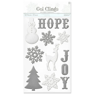 Winter Icons Glitter Gel Clings- 10 Inch