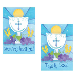 First Communion Blue Invitation and Thank You Card Set- 20ct