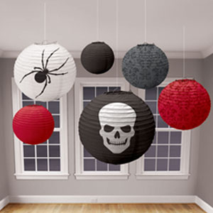 Red Black and Gray Skull Lanterns 6ct