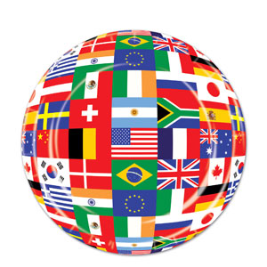 9 Inch International Flag Plates- 8ct