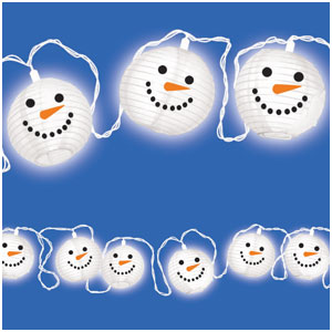 Snowman Lantern Electric Light Set- 11ft