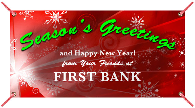 Red Snow Burst 'Seasons Greeting' - Custom Banner