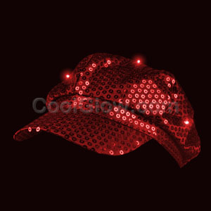 LED Sequin Newsboy Hat - Red