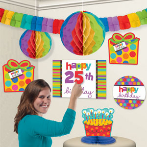 Happy Birthday Dots and Stripes Add-An-Age Decorating Kit- 38pc