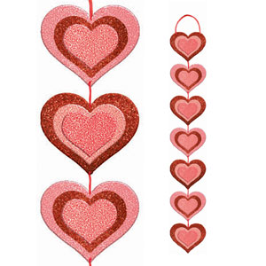 Valentine Glitter Long Heart Sign