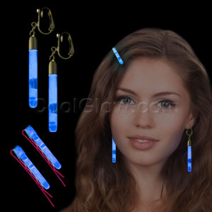 Glow Hair Pins and Earrings Set - Blue