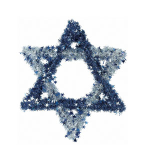 Star of David Tinsel Wreath