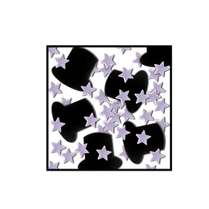 Top Hats and Mini-Stars Confetti - Silver