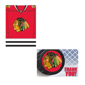 Chicago Blackhawks Invitation and Thank You Card Set- 16ct
