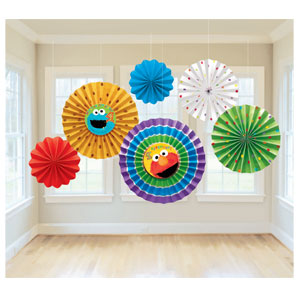 Sesame Street 1st Birthday Hanging Paper Fan- 6ct