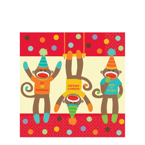 Monkey Party Luncheon Napkins- 16ct