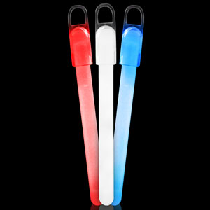 6 Inch Standard Glow Sticks - Assorted Red-White-Blue