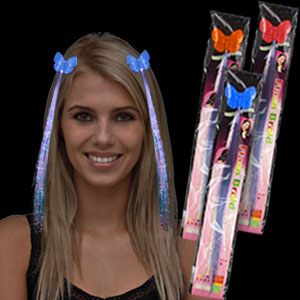 LED Fiber Optic Hair Clips - Assorted