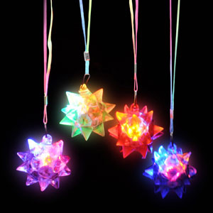 Fun Central R354 LED Light Up Star Ball Necklaces - Assorted