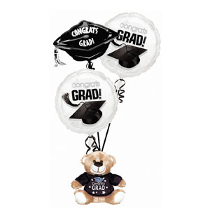 Black Grad Bear Balloon Bouquet- 4pc