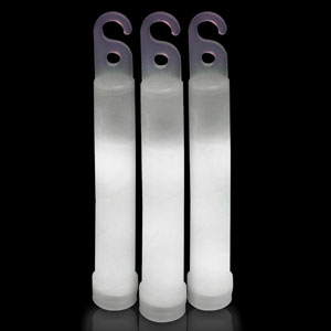 6 Inch Premium Glow Sticks - White