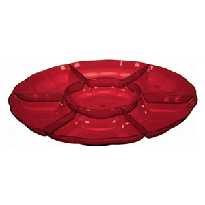 Holiday Red Section Tray- 16in