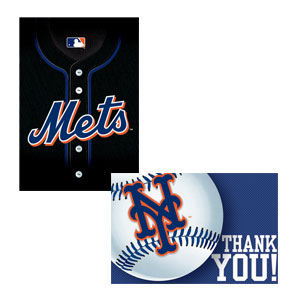 New York Mets Invitations and Thank You Cards Set- 16ct