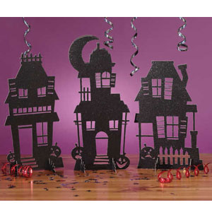 Haunted House Silhouette Glitter Centerpiece- 15in