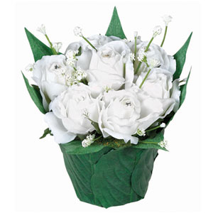 Mini White Roses in Leaf Pot- 4 Inch