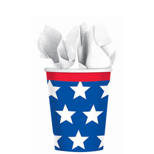 Red White  Blue Stars 9 oz. Cups - 18ct