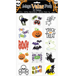 Halloween Cheerful Tattoo Value Pack 120ct