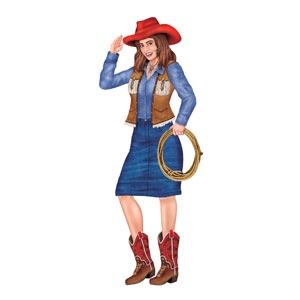 Jointed Cowgirl Cutout- 3ft