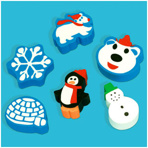 Winter Fun Erasers- 12ct