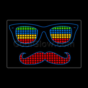 LED Sound Activated Patch - Mustache