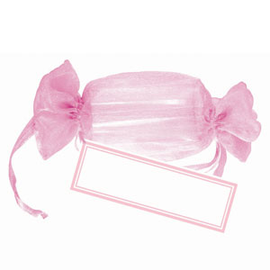 Pink Drawstring Wrapper Favor Kit- 12ct