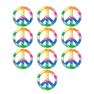 Mini Peace Sign Cutouts - 10ct
