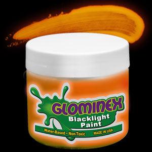 Glominex™ Blacklight UV Reactive Paint 8 oz Jar - Orange