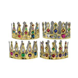 Printed Jeweled Crowns - 4in