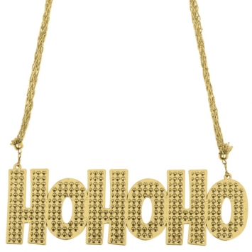 Ho Ho Ho Gold Plastic Necklace