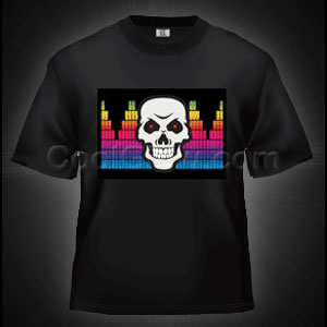 LED Sound Activated T-Shirt - Gradient Skull