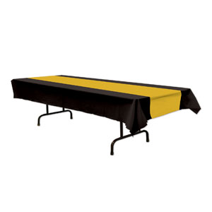 Black and Gold Plastic Tablecover - 108in