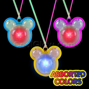 LED Flashing Mickey Mouse Necklaces - Assorted