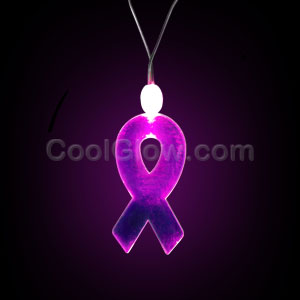 LED Pink Ribbon Necklace