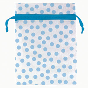 Baby Shower Organza Favor Bags - Blue Dots