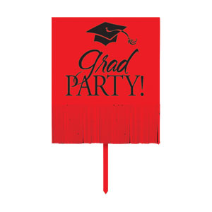Grad Fringe Yard Sign - Red