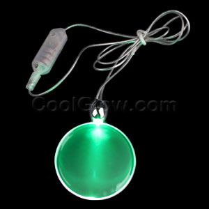 LED Circle Pendant Necklace - Green