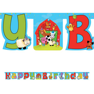 Barnyard Bash Large Jointed Banner with Stickers