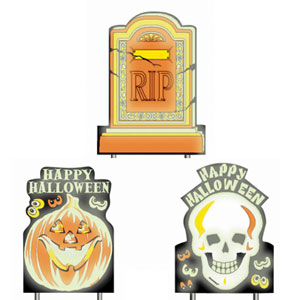 Glow-in-the-Dark Halloween Sidewalk Signs- 3ct