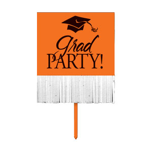 Grad Fringe Yard Sign - Orange