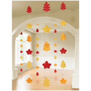 Leaf Print String Decoration- 6ct