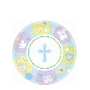 Sweet Christening Blue 7 Inch Plates- 8ct